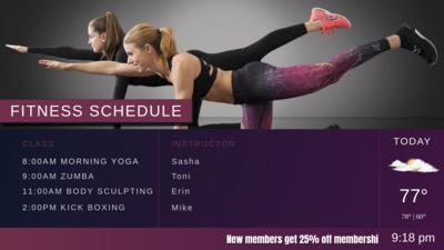 Hotel Fitness Schedule on Digital Signage