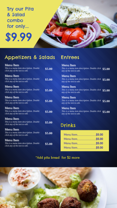 Bright Animated Menu for Digital Signage