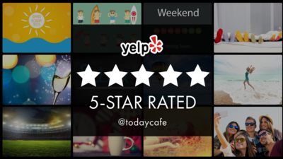 Yelp 5 Star Rated on Digital Signage