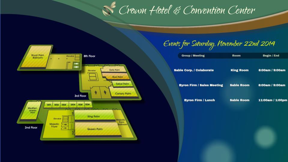 Hotel Property Map on Digital Signage